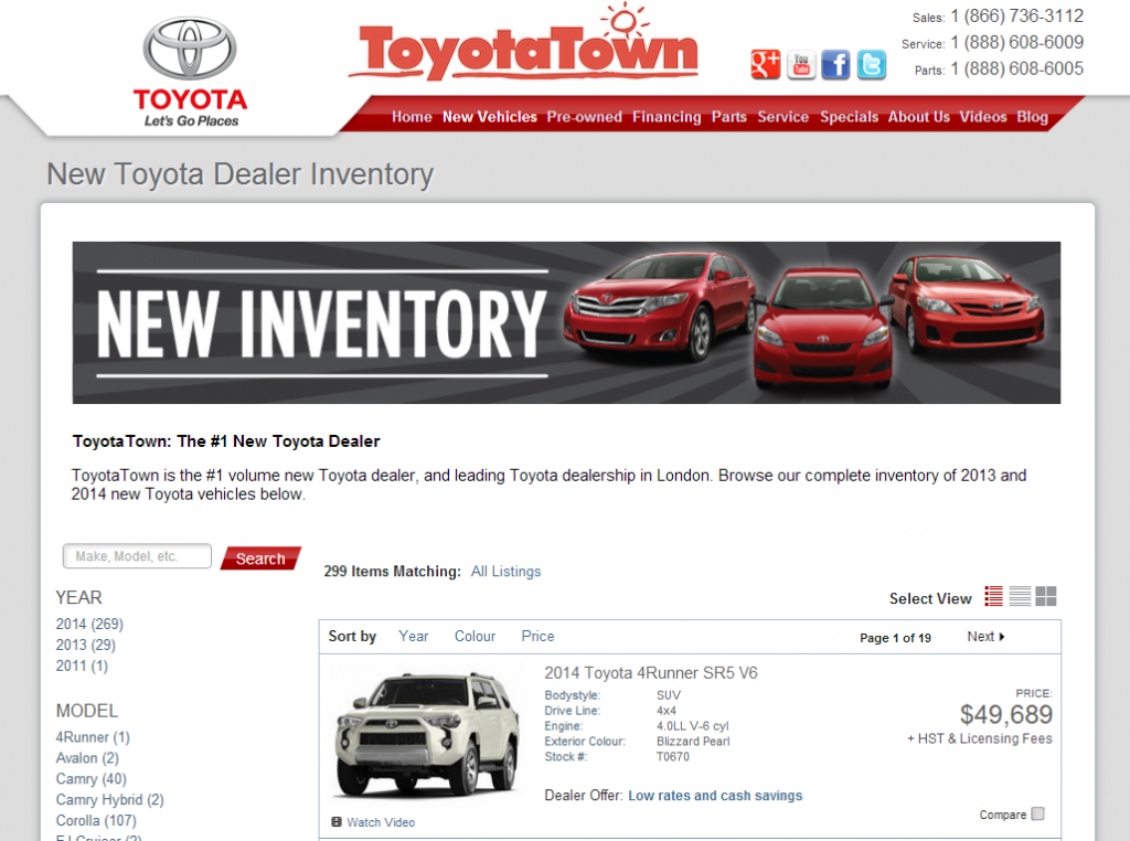 Toyota-Town.com's New Inventory Listings